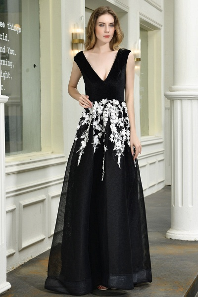 Appliques V-neck Floor Length A-line Prom Dress_2