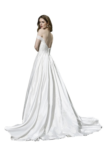 A Line Off the Shoulder Sweetheart Lace Satin Wedding Dress_4