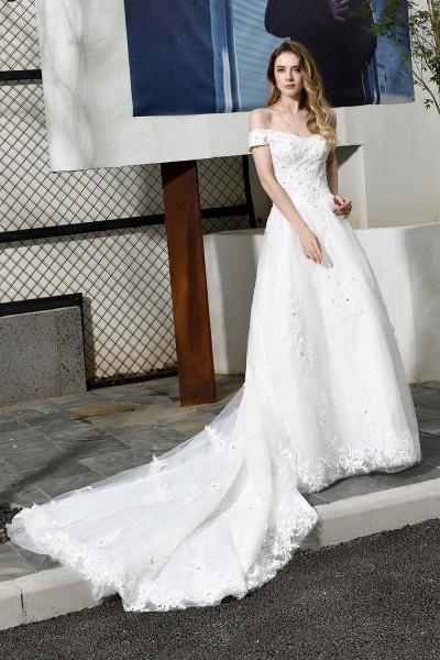 Gorgeous A-Line Lace Off Shoulder Wedding Dress_1
