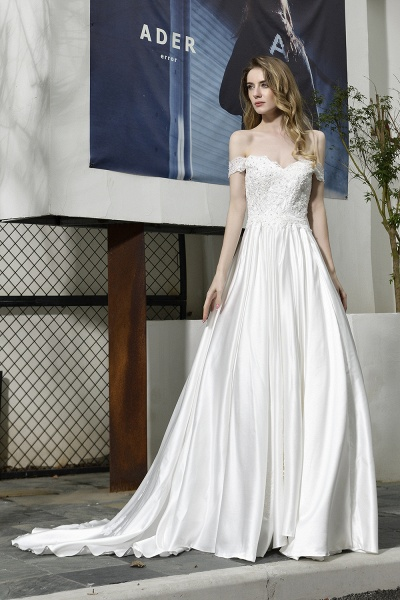 A Line Off the Shoulder Sweetheart Lace Satin Wedding Dress_2