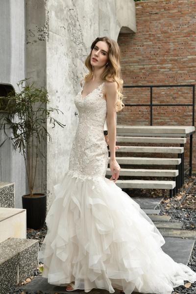 Mermiad Sweetheart Floral Lace Floor Length Wedding Dress_11