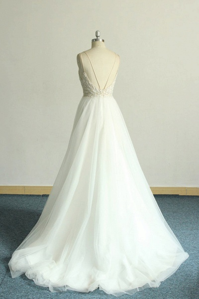 Chic Strap Spaghetti Appliques Tulle Wedding Dress_3