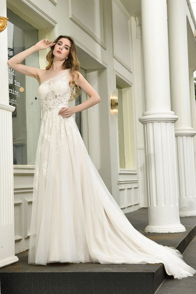 Chic One Shoulder Tulle Lace A-Line Wedding Dress_6