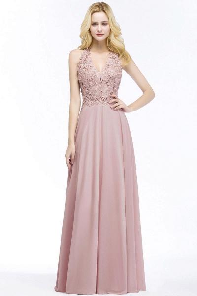 PAM | A-line V-neck Sleeveless Long Appliques Chiffon Bridesmaid Dresses_2