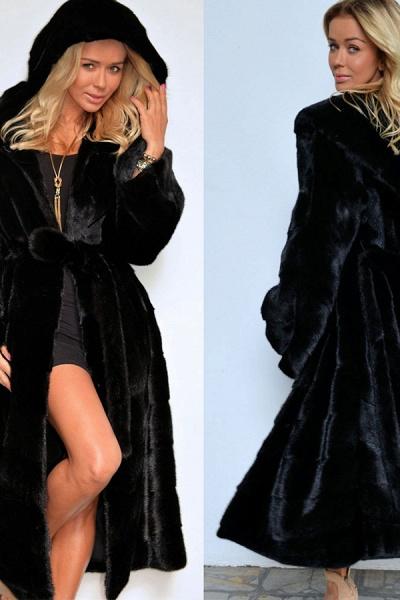 Women's Daily Street Hooded Long Faux Fur Coat_9