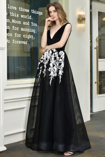 Appliques V-neck Floor Length A-line Prom Dress_4