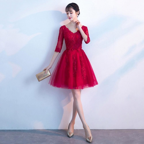 MARGE   A-line V-neck Half Sleeves Tulle Appliques Homecoming Dresses_1