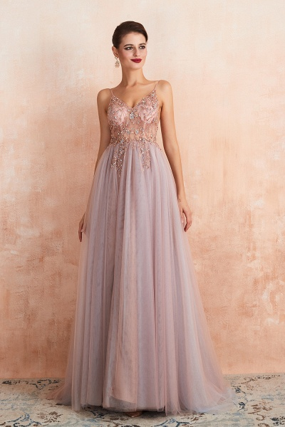 Best V-neck Tulle A-line Prom Dress_14