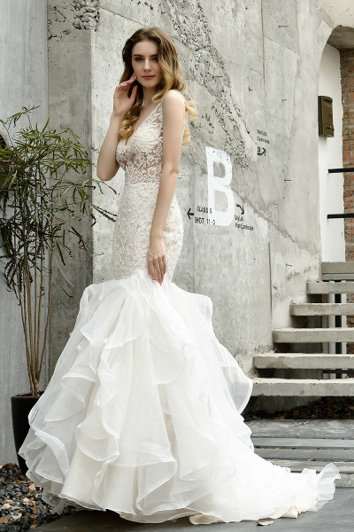 Mermaid V-neck Lace Organza Ruffles Wedding Dress_7