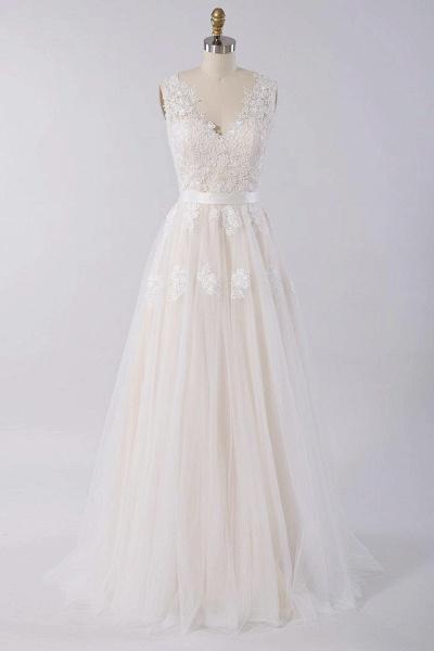 Elegant V-neck A-line Appliques Tulle Wedding Dress_1