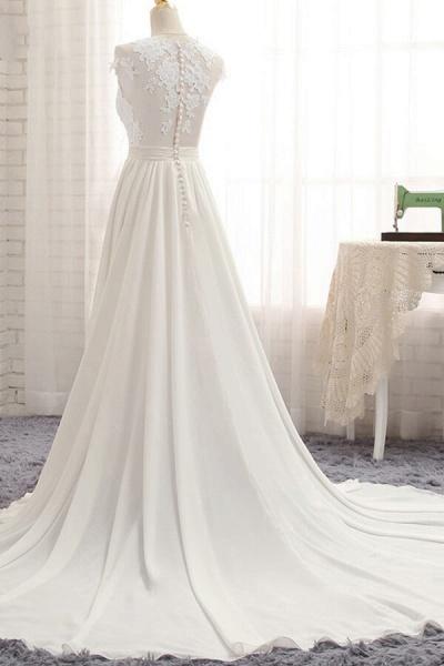 Front Slit Appliques Chiffon A-line Wedding Dress_5