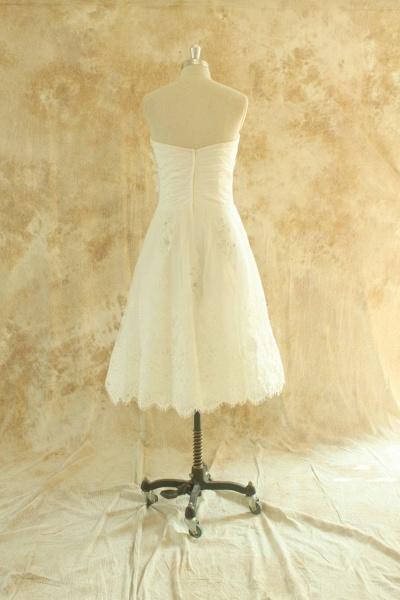 Strapless Lace Chiffon A-line Mini Wedding Dress_3