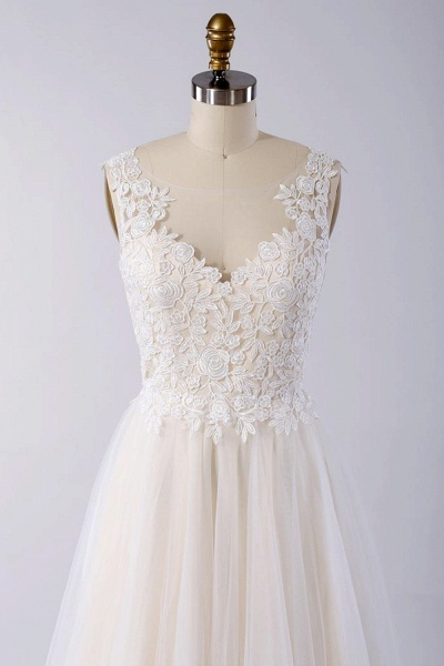 Awesome Appliques Tulle A-line Wedding Dress_4
