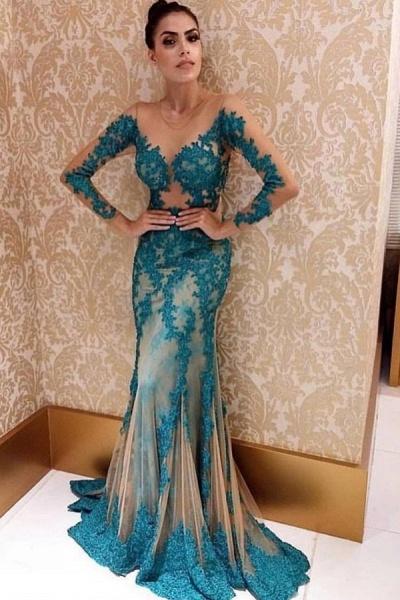 Fascinating Jewel Lace Column Prom Dress_1