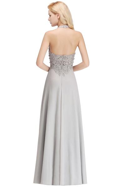 Halter Composite Emulation Silk A-line Floor Length Bridesmaid Dress_21