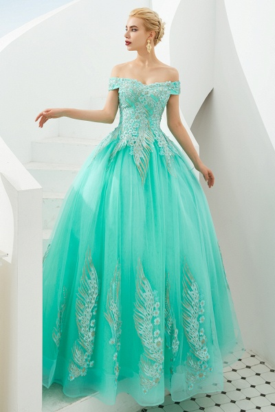 Beautiful Off-the-shoulder Tulle Ball Gown Prom Dress_11