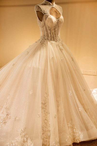 Vintage High Neck Lace-up Tulle Wedding Dress_6