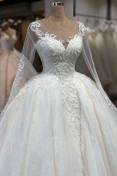Elegant Long Sleeve Ball Gown Tulle Wedding Dress_4
