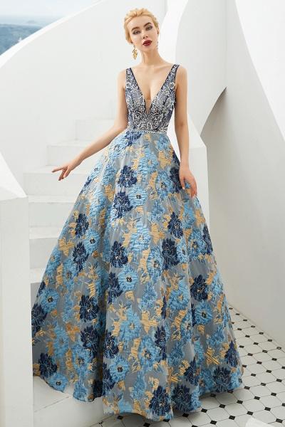 Beautiful V-neck Satin A-line Prom Dress_4