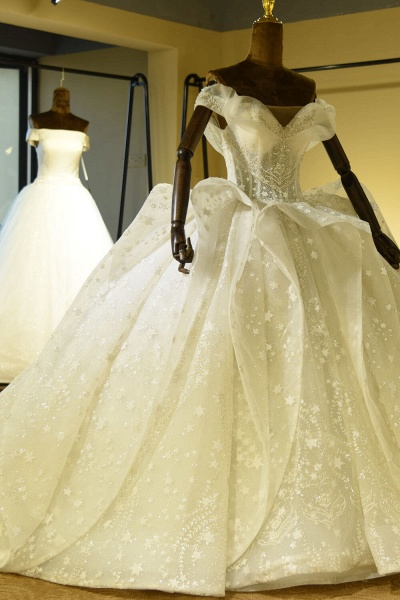 Eye-catching Lace-up Tulle Ball Gown Wedding Dress_2