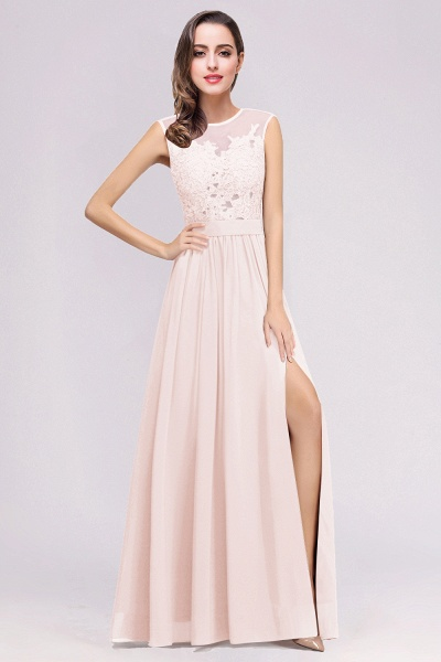Lace Chiffon Floor-Length A-line Bridesmaid Dress_2