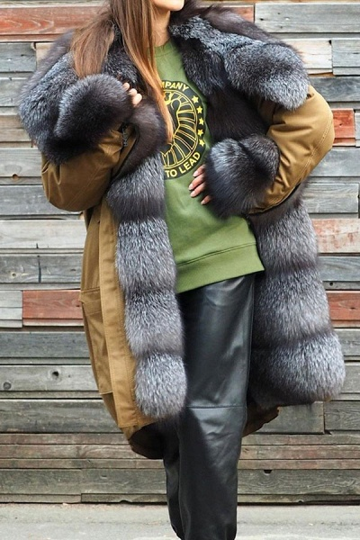 Winter Fur-trimmed Long Faux Fur Coat_2