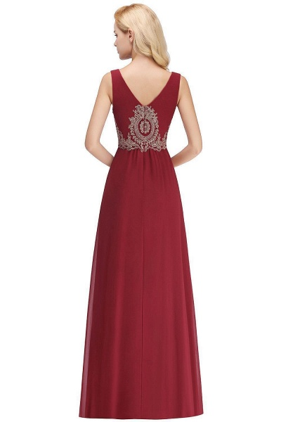 A-Line Chiffon Lace Ruffles Evening Dress_6