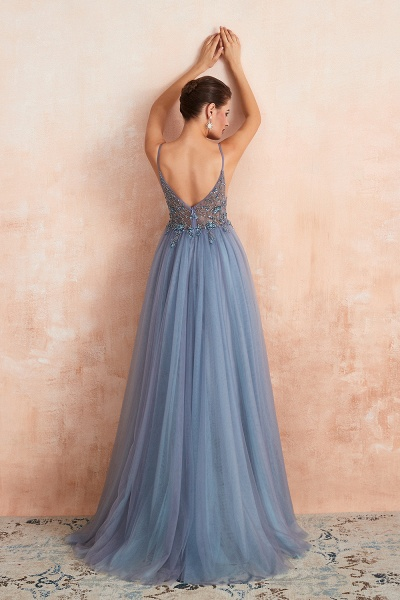 Best V-neck Tulle A-line Prom Dress_18
