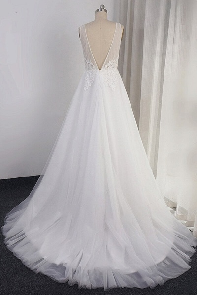 Open Back Appliques Tulle A-line Wedding Dress_3