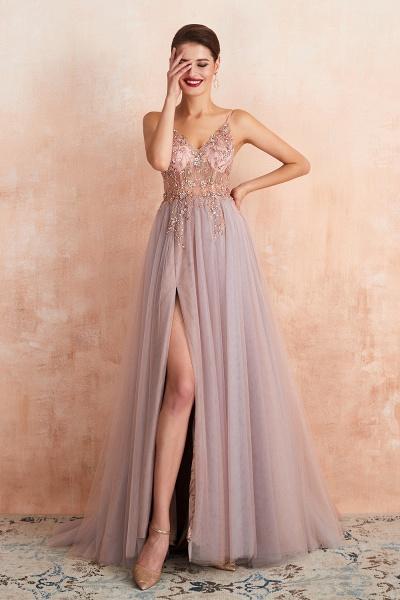 Best V-neck Tulle A-line Prom Dress_21