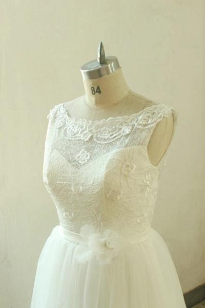 Elegant Illusion Lace Tulle A-line Wedding Dress_3