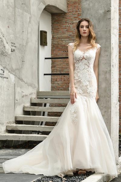 Mermaid Floor Length Lace Tulle Wedding Dresses_10