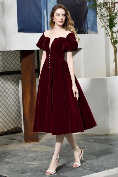 Burgundy Velvet Bubble Sleeve V-neck Short Prom Dress_2