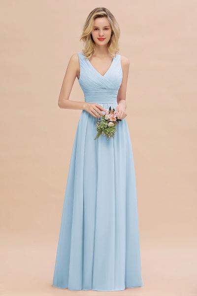 BM0752 Elegant A-line V-Neck Ruffles Long Bridesmaid Dress_23