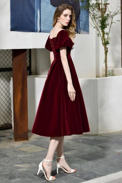 Burgundy Velvet Bubble Sleeve V-neck Short Prom Dress_7