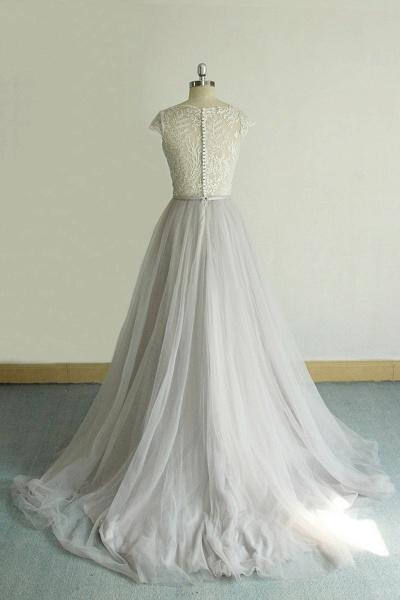 V-neck Cap Sleeve Lace Tulle Wedding Dress_3