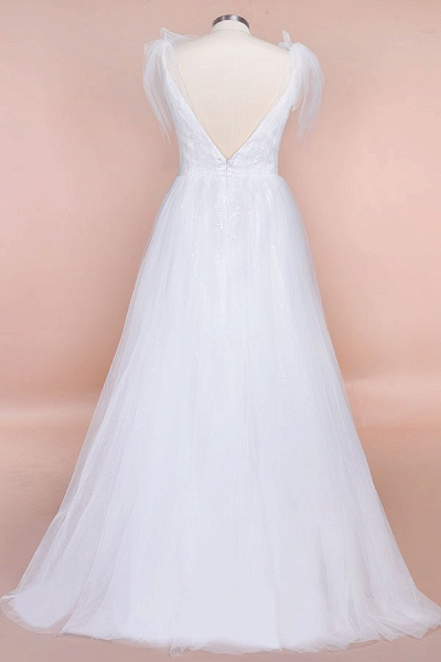 Chic V-neck Appliques Tulle A-line Wedding Dress_7