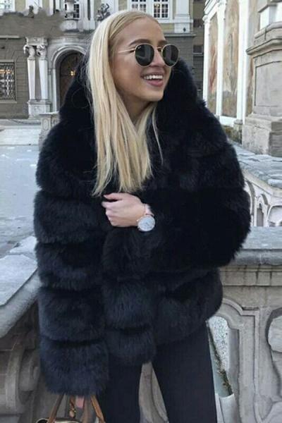 Women's Daily Winter Hooded Faux Fur Coat_5