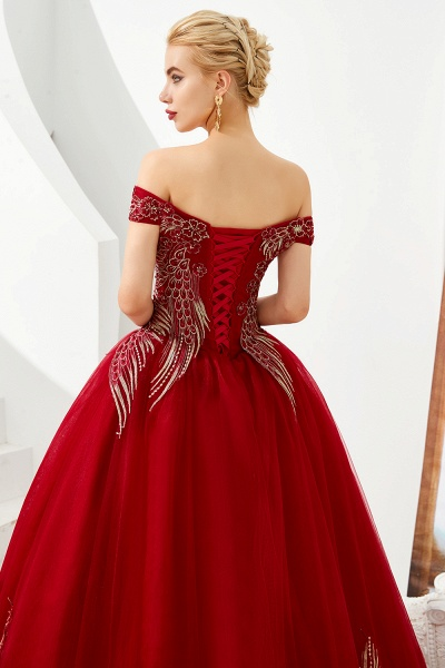 Beautiful Off-the-shoulder Tulle Ball Gown Prom Dress_8