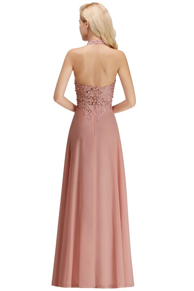 Halter Composite Emulation Silk A-line Floor Length Bridesmaid Dress_28