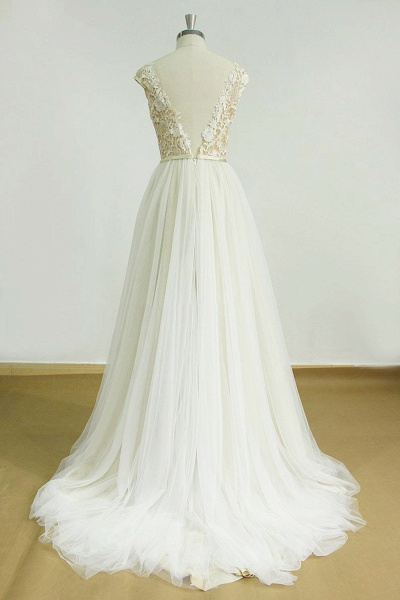 Chic Cap Sleeve Lace Tulle A-line Wedding Dress_3