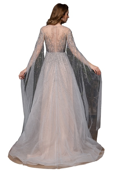 Luxury Shawl Sequined A-line Long Prom Dress_4