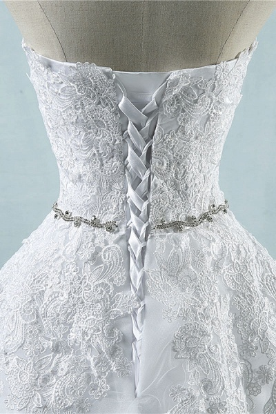 Strapless Appliques Tulle A-line Wedding Dress_5