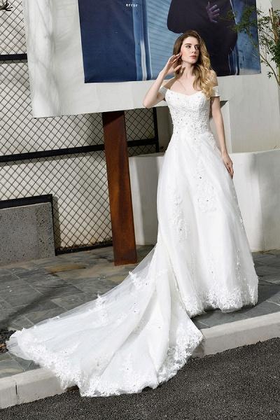 Gorgeous A-Line Lace Off Shoulder Wedding Dress_5
