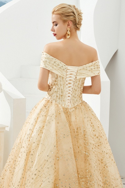 Attractive Off-the-shoulder Tulle Princess Prom Dress_5