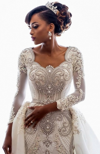 Mermaid Beads Lace Appliques Long Sleeve Wedding Dresses with Overskirt