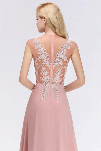 Lace Appliques Beads Cap Sleeve A-line Evening Prom Dress_6