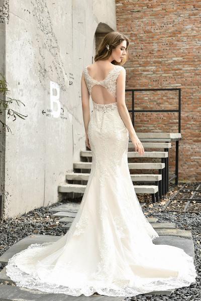 Straps Lace Backless Floor Length Wedding Dresses_3
