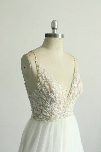 Chic Strap Spaghetti Appliques Tulle Wedding Dress_5