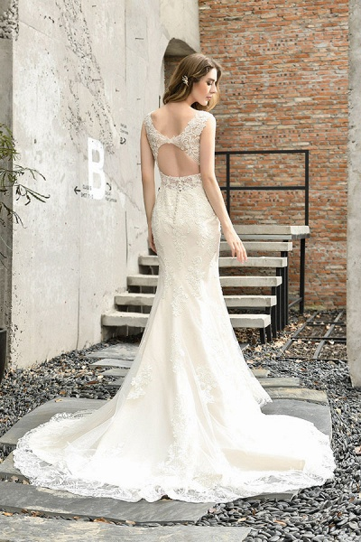 Glamorous Mermaid Satin Lace Open Back Wedding Dress_3